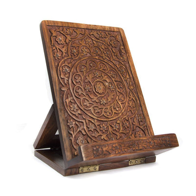 Handmade Carved Rosewood Tablet and Book Easel - nextposh