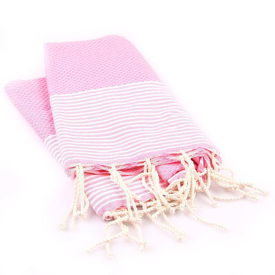 Serviette Fouta Thomas RICHARD Fouta Nid d'abeille Rose