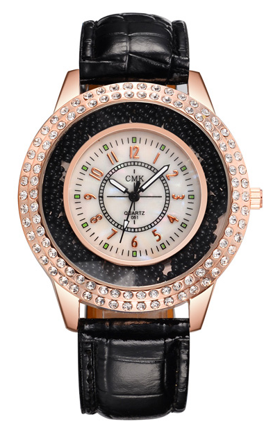 Black Women Watch Fashion Rhinestones Bead