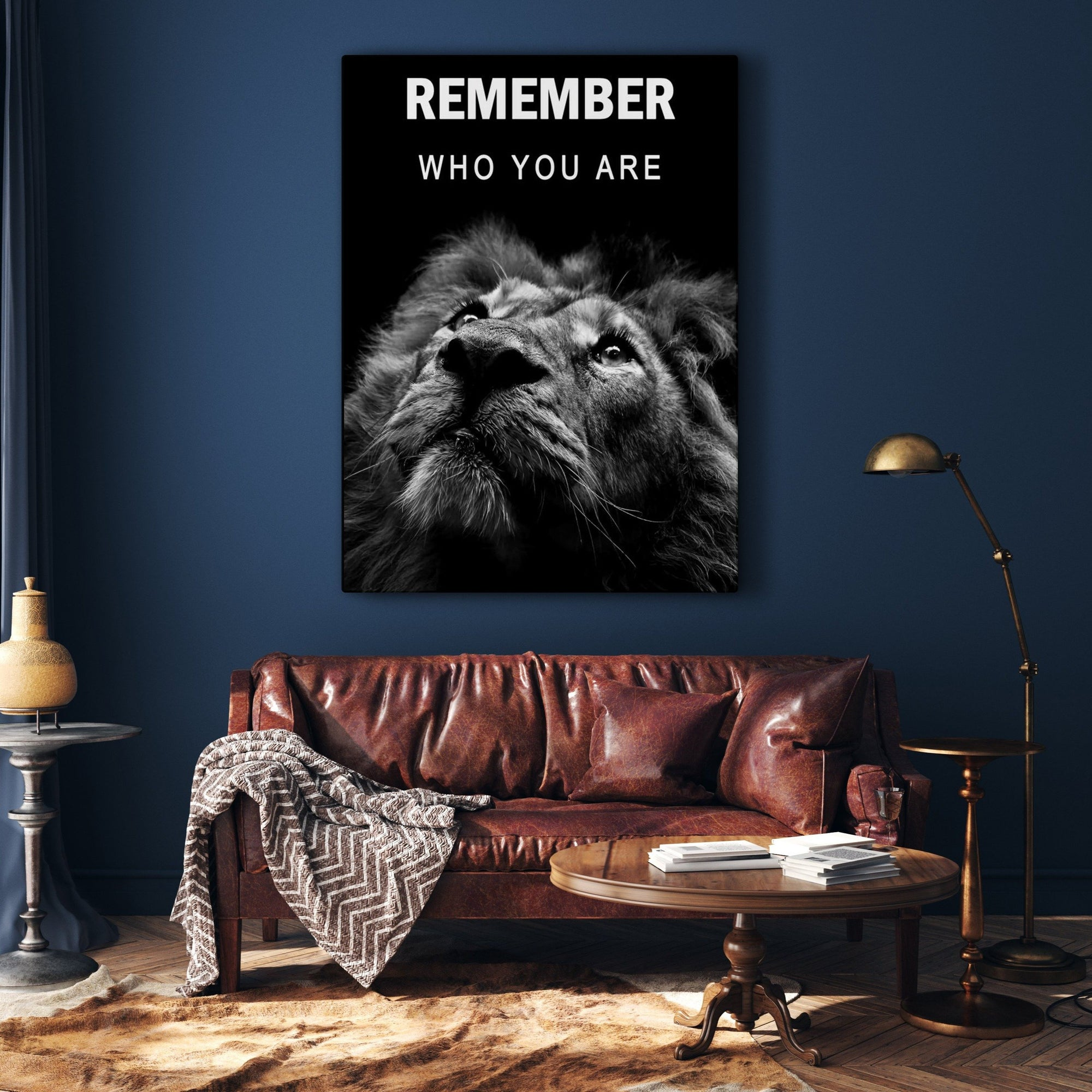 Tableau Lion Remember Who You Are - RUEDESTABLEAUX.COM