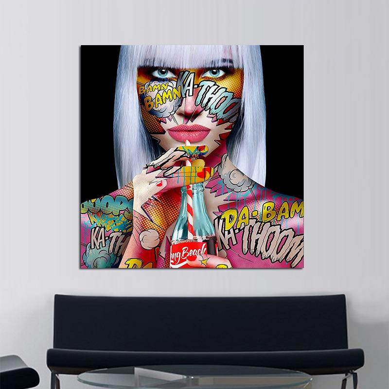Tableau Pop Art Girly Drink - ruedestableaux.com