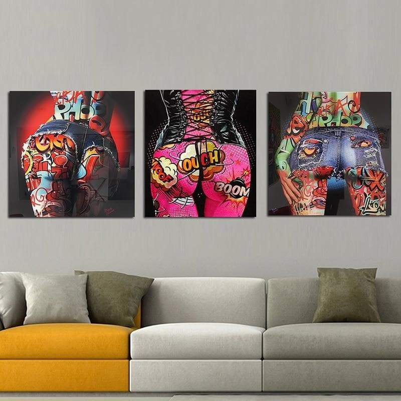 Pop Art Canvas Sexet Graffiti 3 Pieces Samaritan Pop Art Canvas