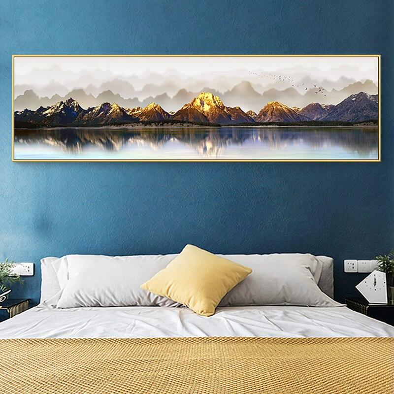 Pittura panoramica riva del fiume d'oro - RUEDESTABLEAUX.COM