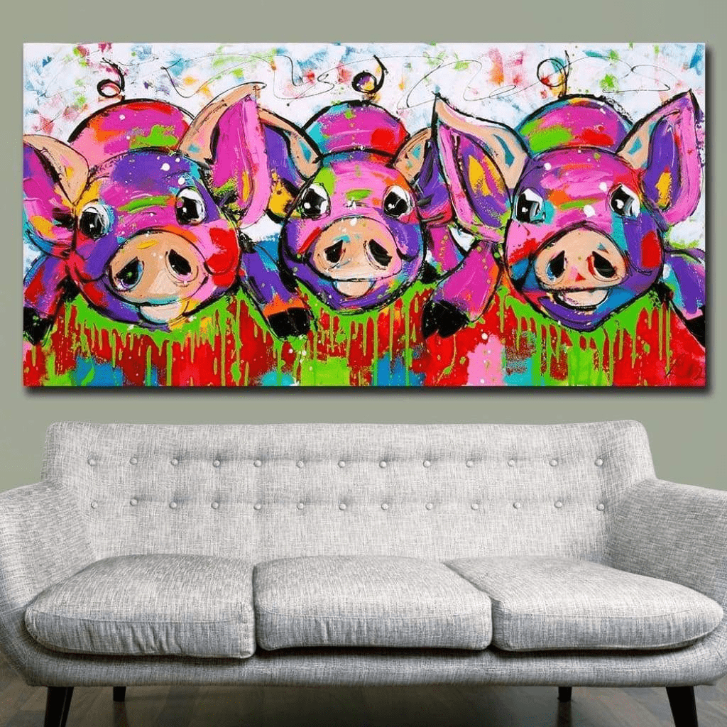 Colorful Animal Painting The 3 Little Samaritan Pigs Animal Painting
