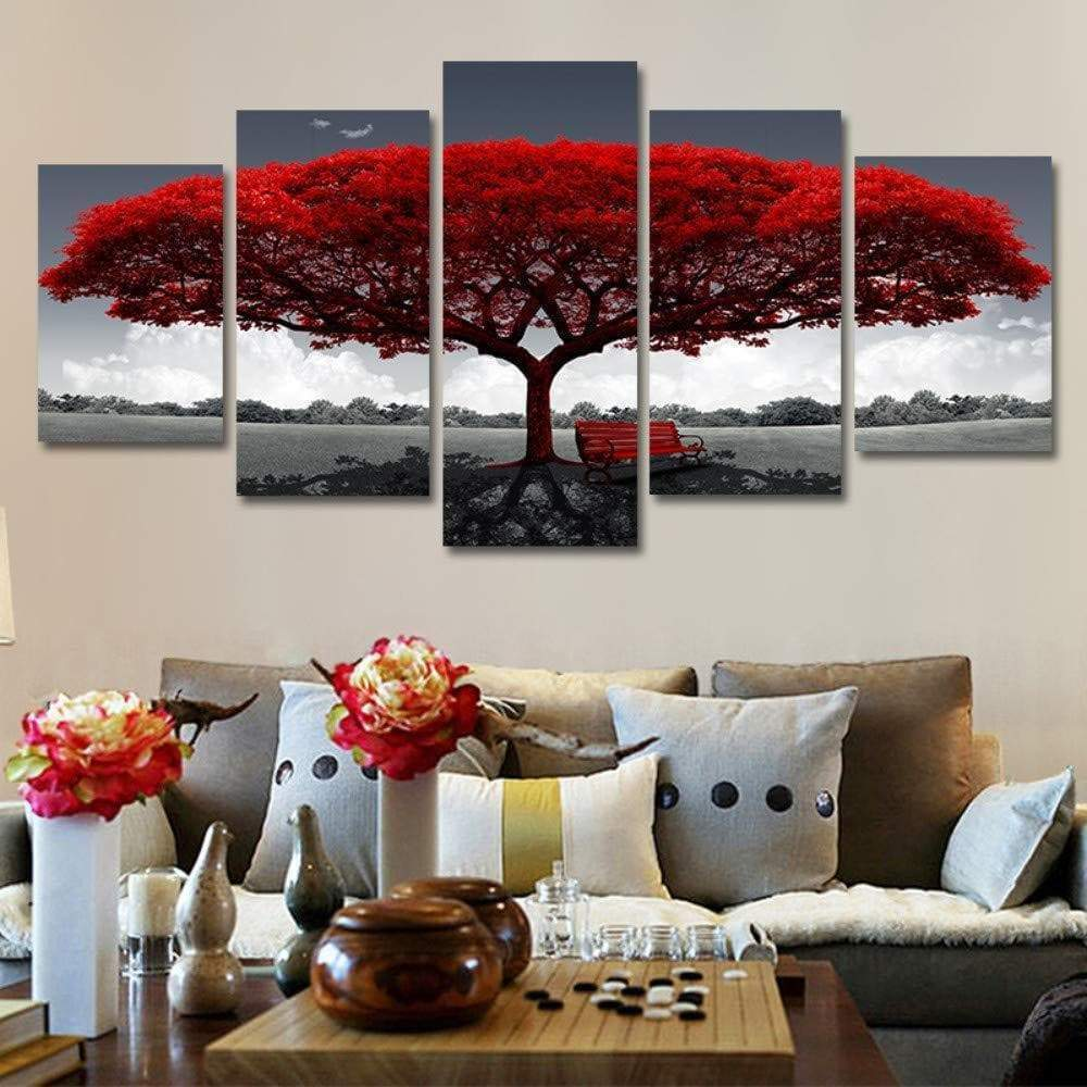 Red samaritan tree painting nature and landscape painting