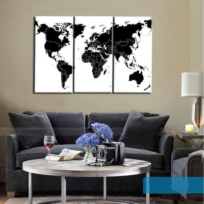Samaritan Black and White World Map Painting World Map Painting