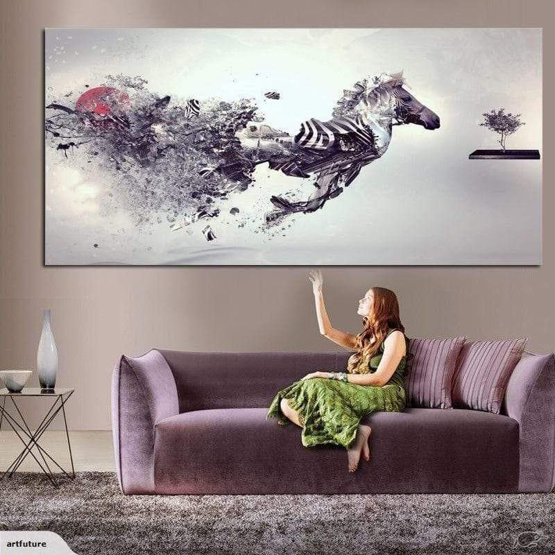 Tableau Cheval Blanc Horse Running - ruedestableaux.com