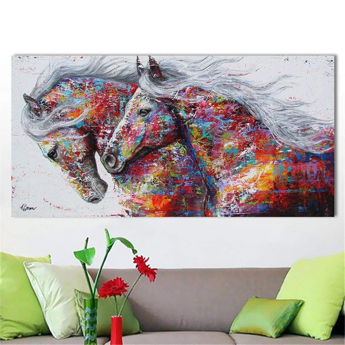 Colored Horse Painting The Cheap Decor Ruedestableaux Com