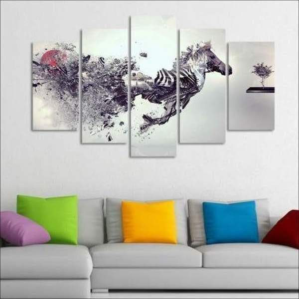 Black and White Horse Painting The Modern Samaritan Horse Painting