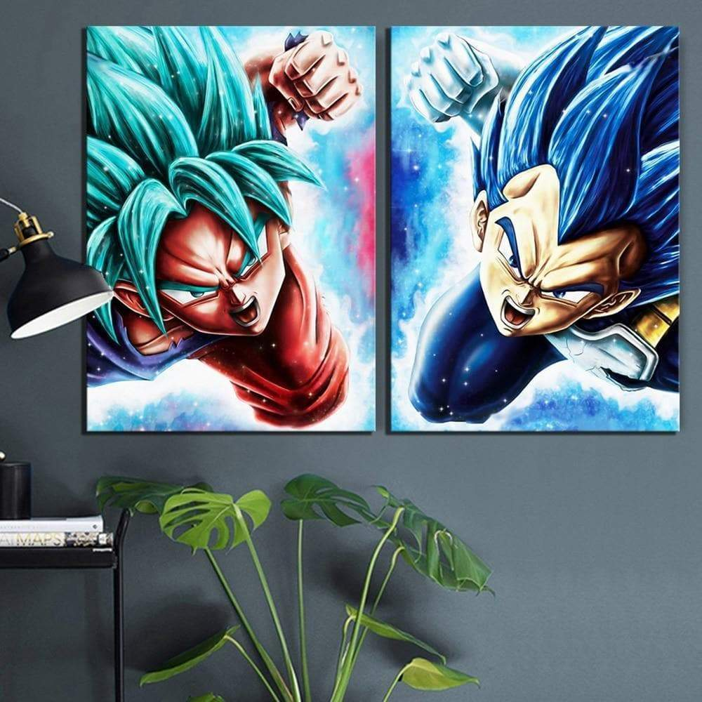 Dragon Ball-maleri 2 stykker Goku & Samaritan Vegeta Dragon Ball-maleri