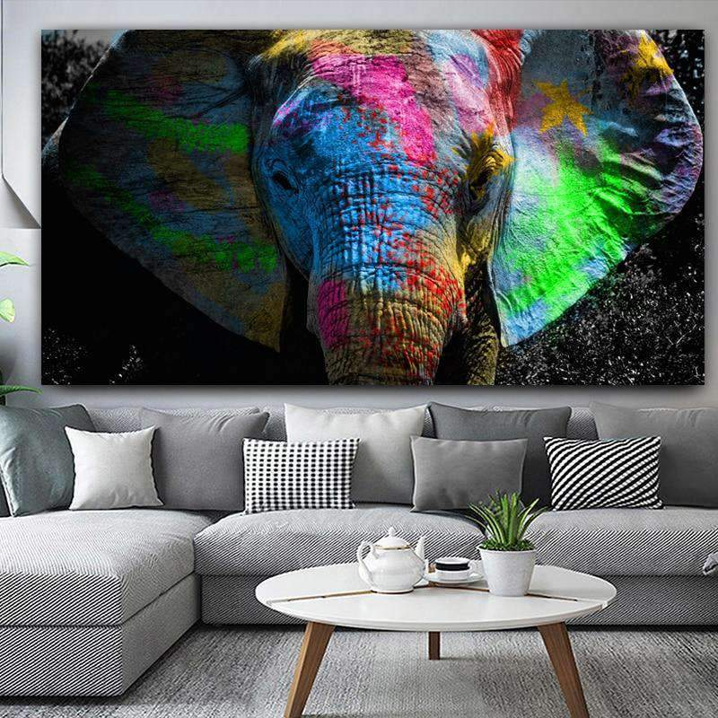 Elephant Painting Modern Multi Color Samaritan Animal Painting