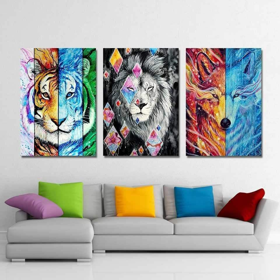 Tableau Lion Coloré Black Lion Wolf Tiger samaritain Tableau Lion