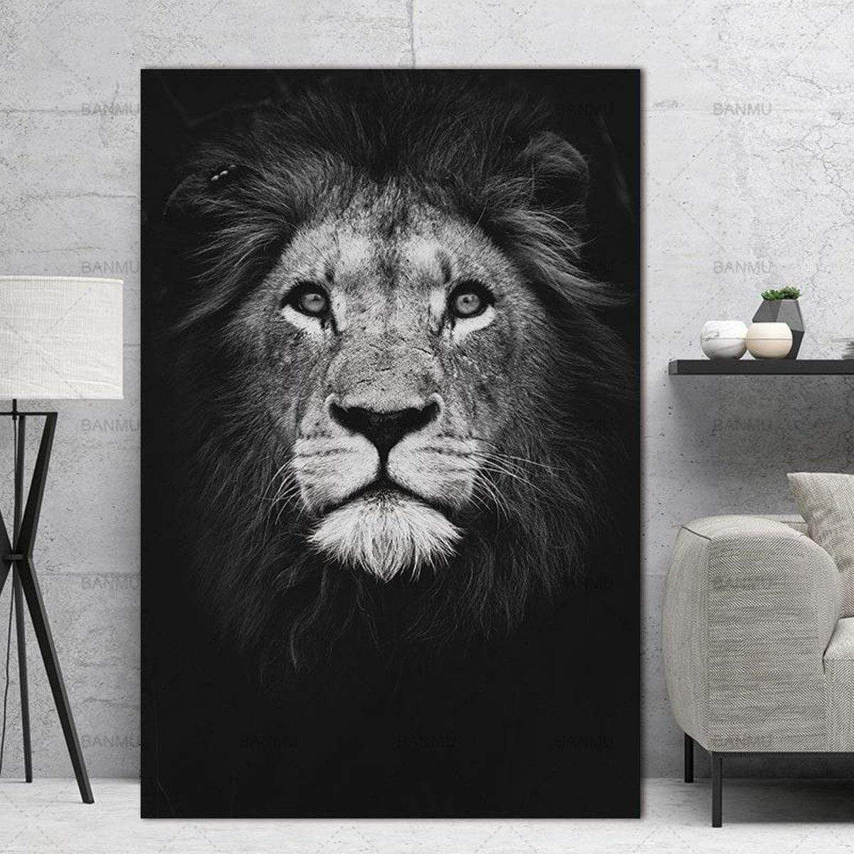 Black and white lion painting samaritan lion painting