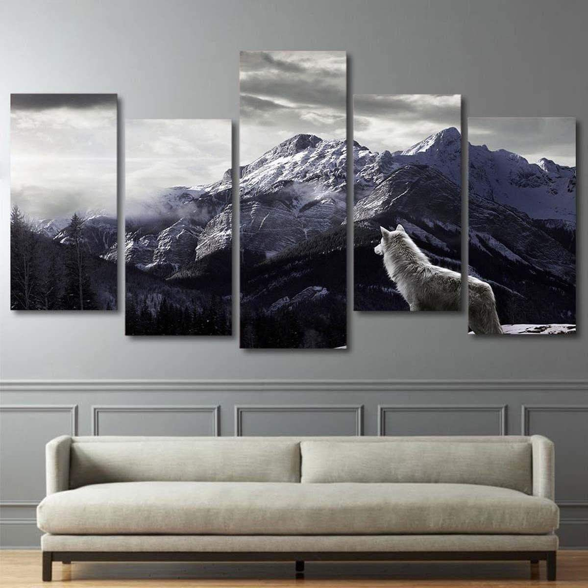 Samaritan Mountain White Wolf Painting Nature and Landscape Painting