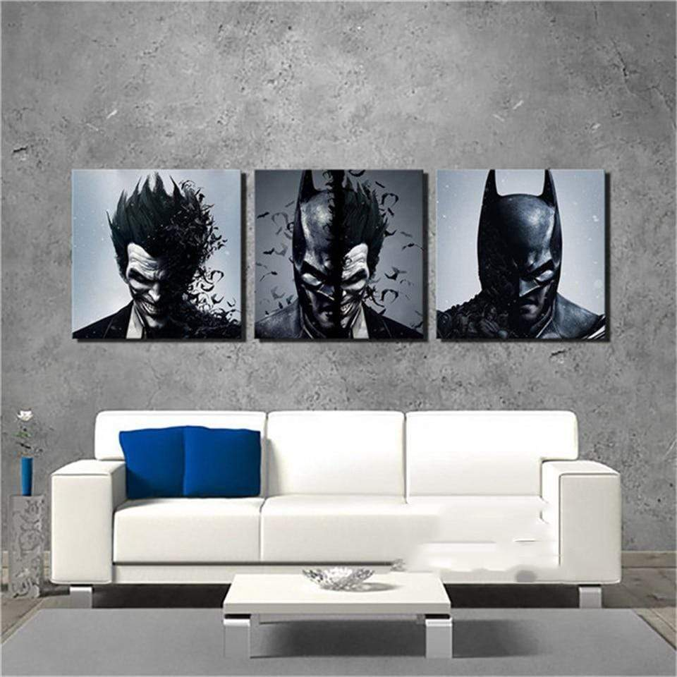 Marvel Comics Painting Batman Joker 3 Pieces Samaritan Marvel Dc Comics Painting