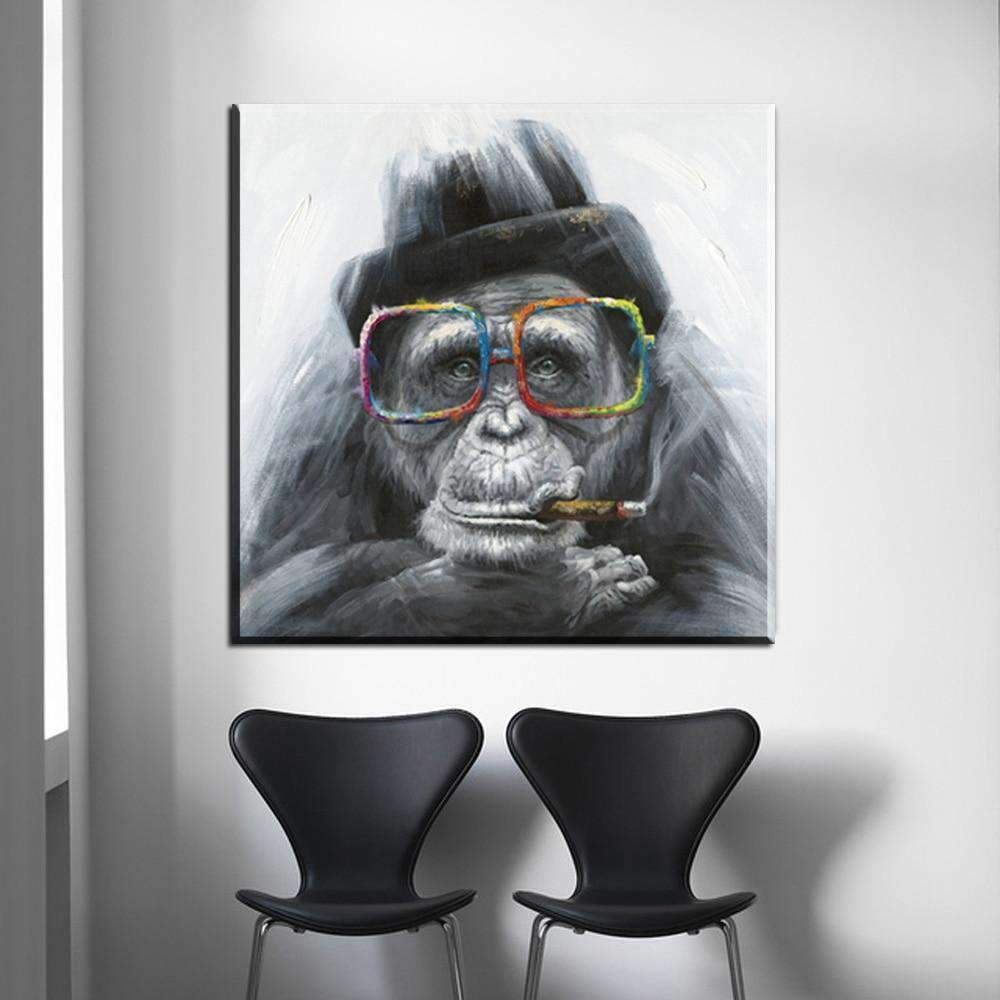 Tableau Moderne Monkey Smoking samaritain Tableau Moderne