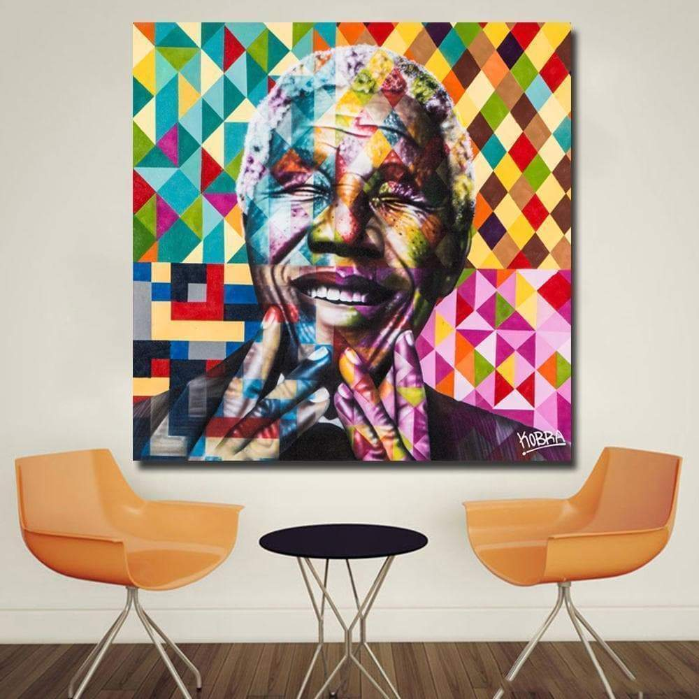 Tableau Pop Art Nelson Mandela Portræt samaritain Tableau Pop Art