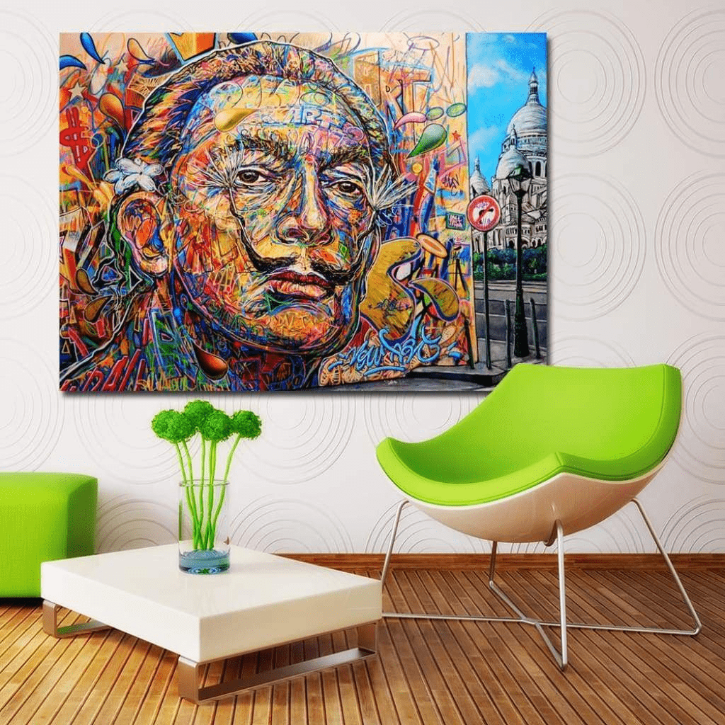 Tableau Salvador Dali Colorful Portrait samaritain Tableau Salvador Dali