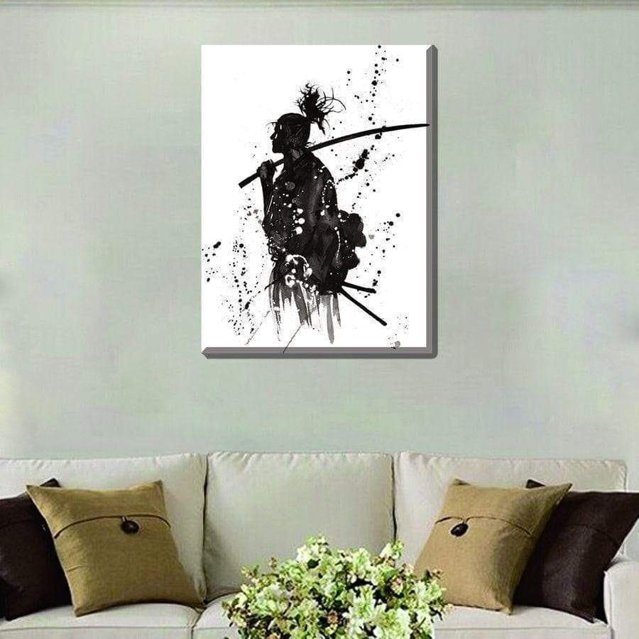 Samurai Black and White Samaritan Painting Spiritual Painting