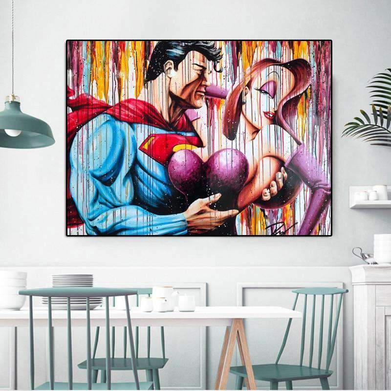 Tableau Stree Art Cartoon Super héro - RUEDESTABLEAUX.COM