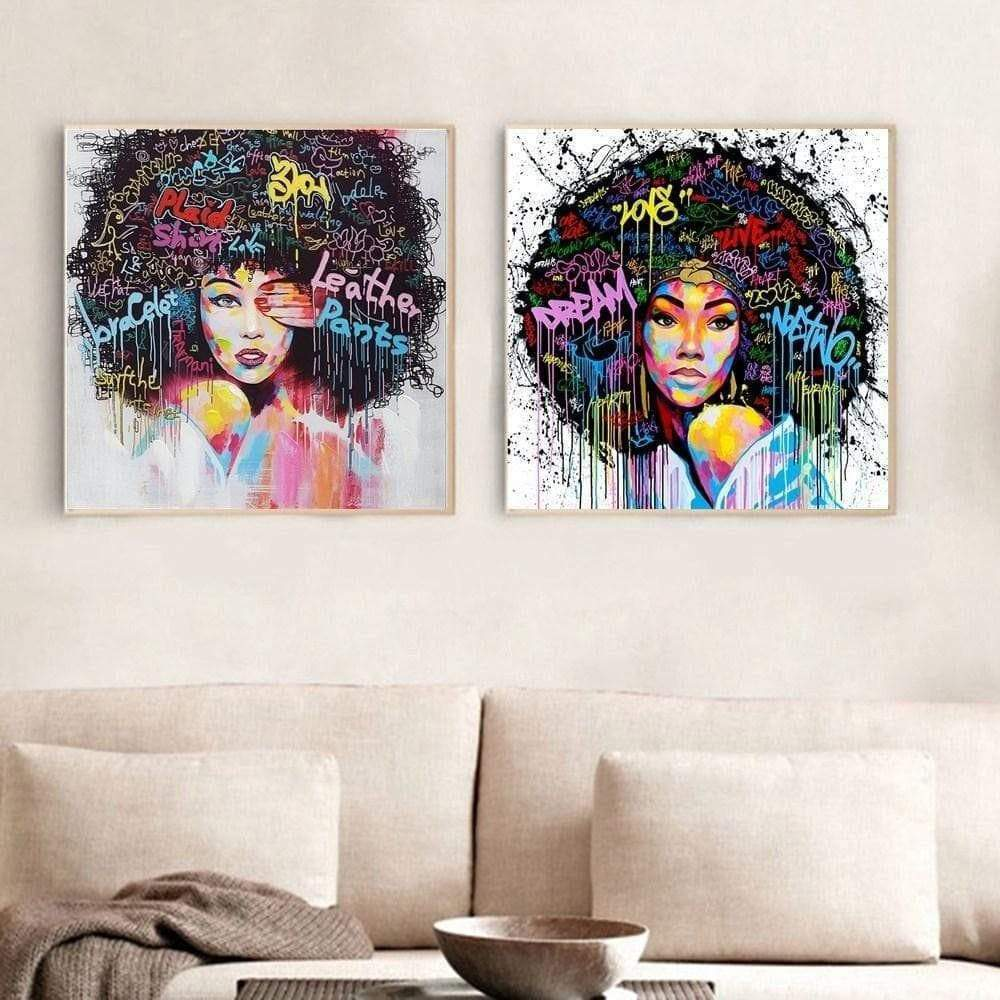 Table Street Art African Woman 2 pieces Bintou & amp; Bahiya Samaritan Street Art Painting