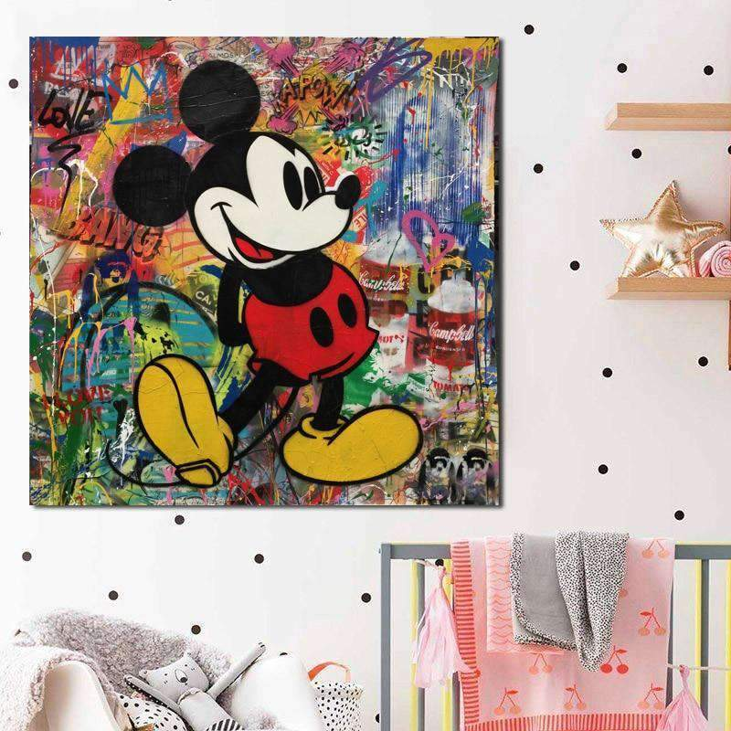 Tableau Street Art Mickey Mouse Graffiti samaritain Tableau Street Art