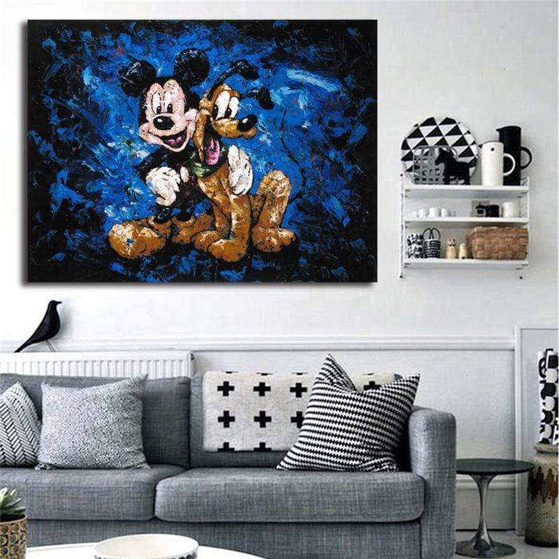 Tableau Walt Disney Mickey Mouse og Pluto samaritain Tableau Walt Disney