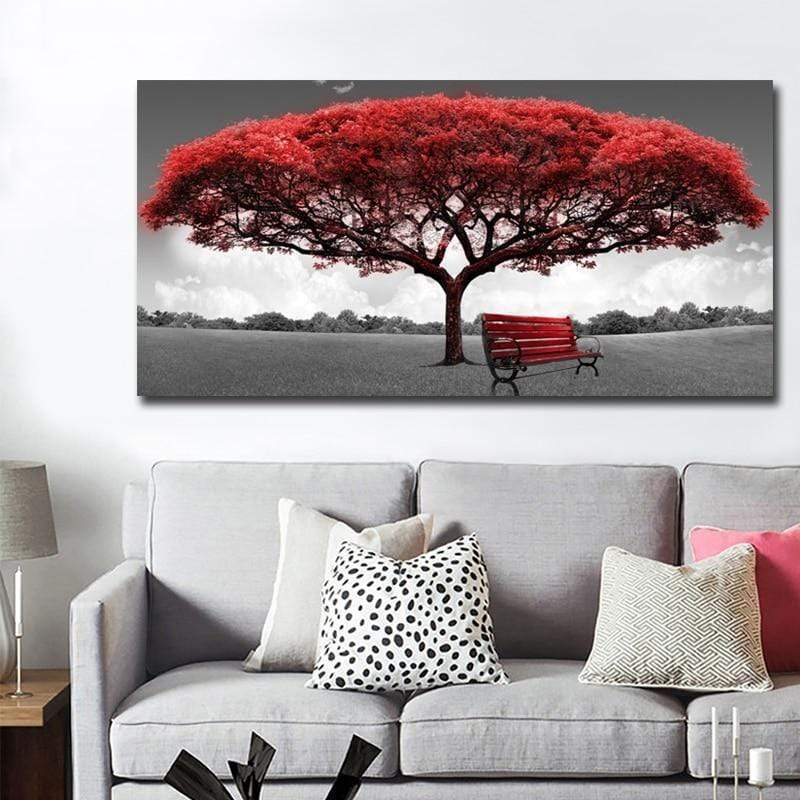 Red samaritan tree canvas painting nature and landscape