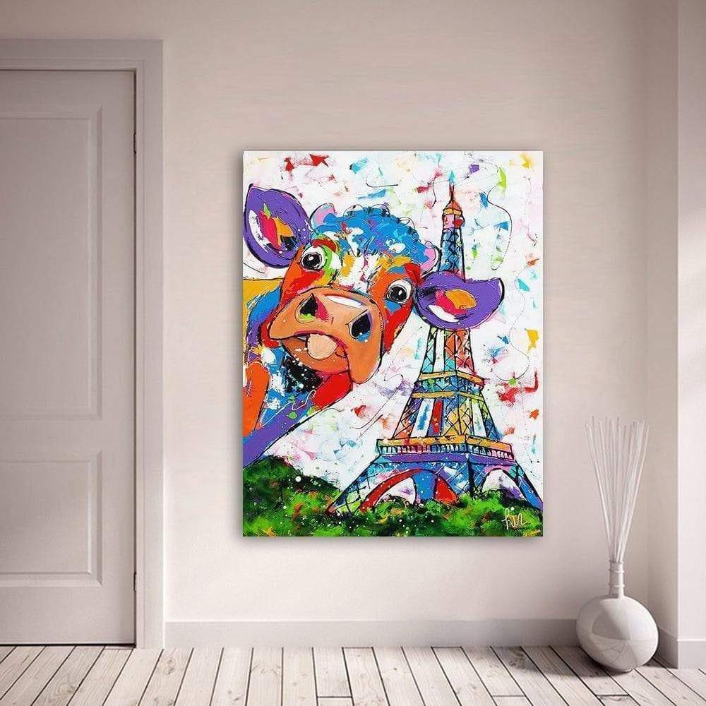 Colorful Cow Canvas in Paris Samaritan Cow Canvas