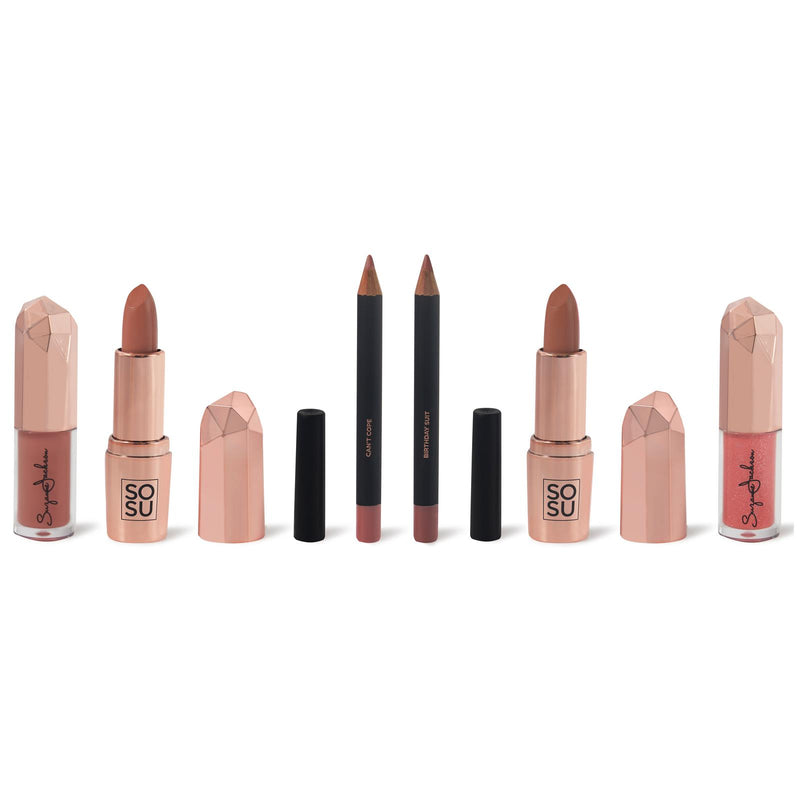 SOSUbySJ Let Them Talk Lip Collection Lipstick, Lip Gloss & Lip Liner Ultimate Collection Giftset (4648318730298)
