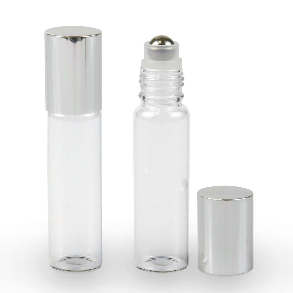 15ml Clear Glass Steel Ball Roller Bottle with Silver Lid - Stock Your Pantry