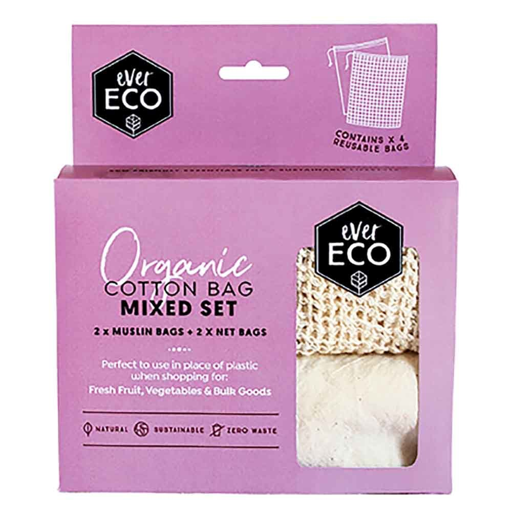 Ever Eco Organic Cotton Mixed Set Produce Bags - 4 Pack - Stock Your Pantry