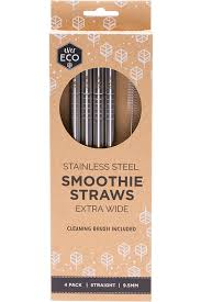 Ever Eco Stainless Steel Smoothie Straws Bent - 4 Pack with Brush - Stock Your Pantry