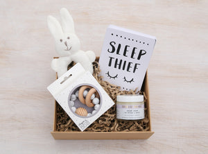 baba Boo curated gift box products - Sister & Co Dream Cream, Blossom & Bear Teething Toy, Baby Moments Cards, Bunny Rattle
