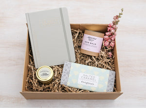 MiniBoo Gifts bestest Boo curated gift box including Nathalie Bond skin balm, DesignWorks Ink hardcover journal, salted caramel chocolate and a Paddywax candle