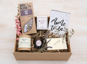 Luxury care package for mum to be with Nathalie Bond Skin Balm, BUFF MAMA candle, Unscented Soap, Bird & Blue Tea Bags