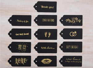 Selection of gift tags available with your care package for personalised message