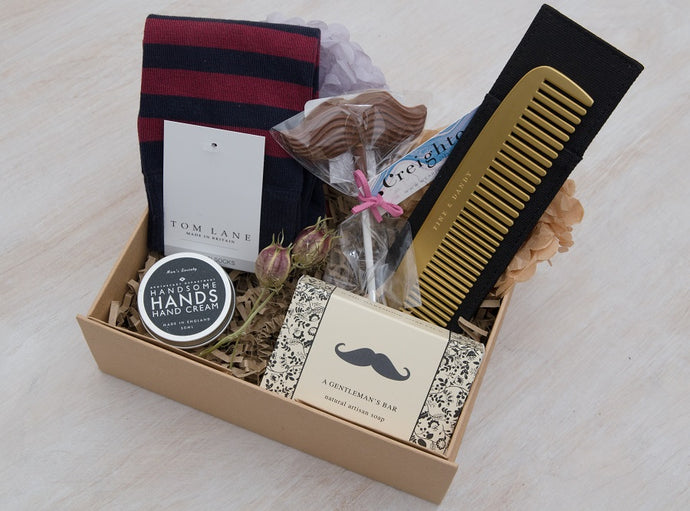 Luxury curated gift box with Tom Lane socks, Dartmoor Soap Co. Bar, Creighton's Moustache, Men's Society Comb & Hand Cream