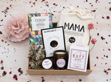 Curated gift box - Coco Chocolatier bar, Mighty Fine Mother pin, Lovely Ink cards, BUFF MAMA candle & Nathalie Bond lip balm