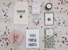 Gift box items - Coco Chocolatier bar, Mighty Fine Mother pin, Lovely Ink cards, BUFF MAMA candle & Nathalie Bond lip balm