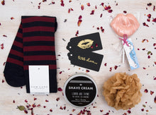 Luxury curated gift box items - Tom Lane socks, Men's Society 100 % natural Shave Cream and a Creighton's chocolate kiss lolly