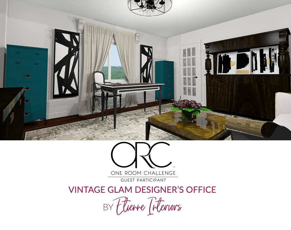 Spring 2018 One Room Challenge / Wk 3 / Vintage Glam Designer's Office