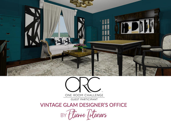 Spring 2018 One Room Challenge / Wk 4 / Vintage Glam Designer's Office