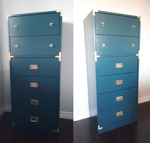 Campaign Chests painted in Benjamin Moore Dark Harbor