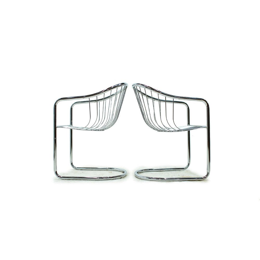 Pair of Chrome Cantilever Chairs in the style of Milo Baughman