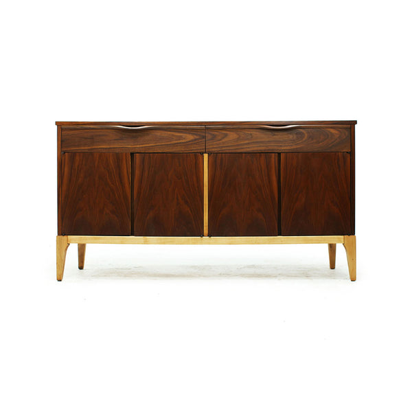 Mid Century Modern Walnut 4 Door 2 Drawer Credenza