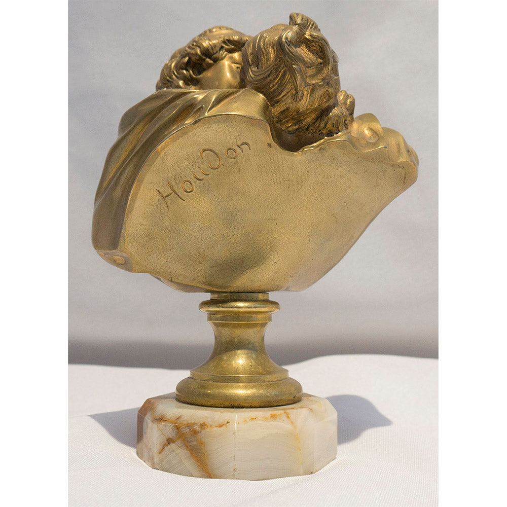"Gilt Bronze Sculpture by Jean Antoine Houdon - Le Baiser Donne (""The Kiss"")"