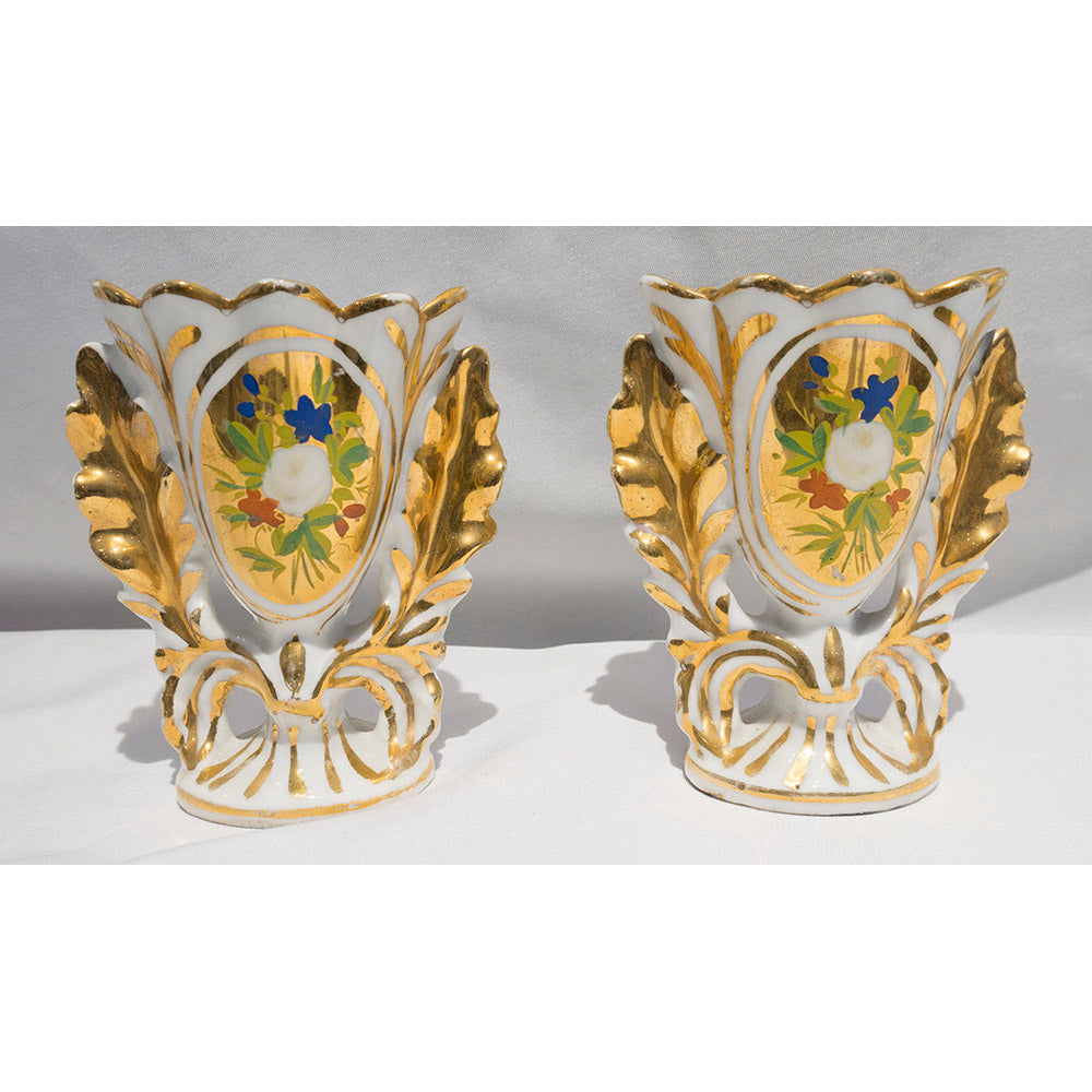 Pair of Vintage French Porcelain Gilt Vases