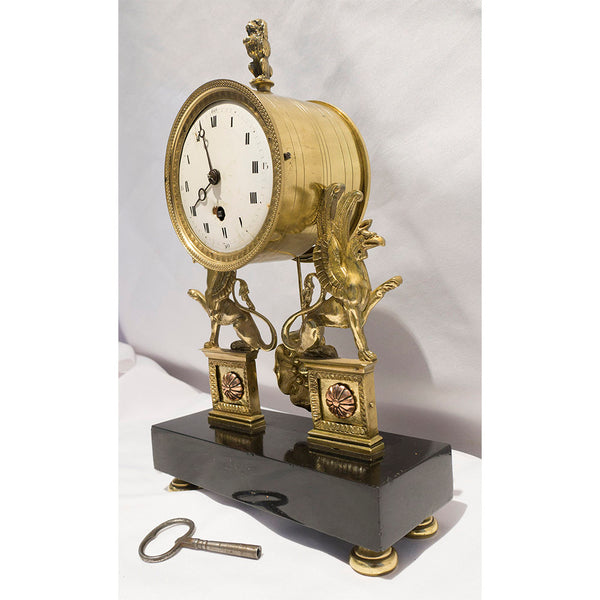 19th Century Gilt Bronze 'Egyptian Revival' Empire Clock