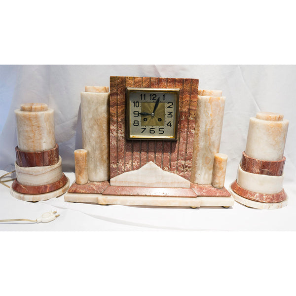 1930s Large Art Deco Marble Clock